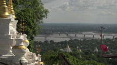 Sagaing, view from Sagaing Hill, Irrawaddy and Ava bridge Stock Footage