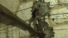Detail showing telephone cables inside Fort Douaumont, near Verdun, France. Stock Footage