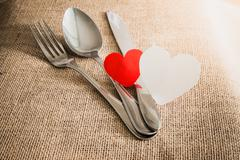 valentine's romantic dinner concept - stock photo