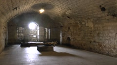 Barrack room with displays in Fort Douaumont, near Verdun, France. Stock Footage