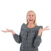 exciting woman - stock photo