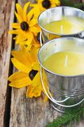 yellow fragrant candles - stock photo