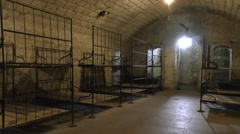 Barrack room at Fort Douaumont, near Verdun, France. Stock Footage