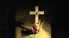 Cross memorial inside Fort Vaux, near Verdun, Meuse, France. Stock Footage