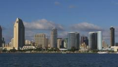 View of San Diego Skyline Downtown Tilt Up from Ocean 4k Stock Footage