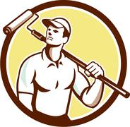 Handyman house painter paint roller circle retro Stock Illustration