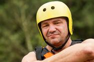 Stock Photo of Adult Man Prepared For White Water Rafting Serious Look