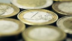 Old Euro coins - panning shot Stock Footage