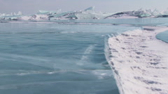 Winter Baikal lake in Siberia, slider shoot Stock Footage