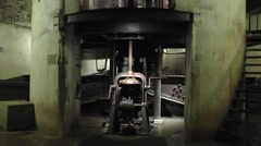 Part of the mechanism for the rising 155mm gun, Fort Douaumont, Verdun, France. Stock Footage