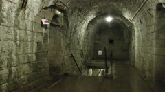 Corridor and stairs within Fort Douaumont, near Verdun, France. Stock Footage