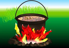 Campfire cooking Stock Illustration