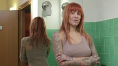 Sensual Sexy Girl Woman With Tattooed Body Looking At Camera Stock Footage