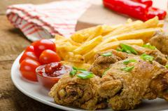 fried chicken, chilli fries and dip - stock photo