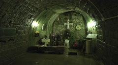 German shrine and mass grave inside Fort Douaumont, near Verdun, France. - stock footage