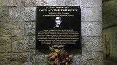Memorial to Captain de Gaulle at Fort Douaumont, near Verdun, France. Stock Footage