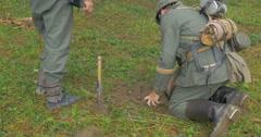 German soldier mining 09 Stock Footage