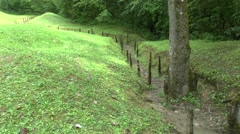 Remains of World War One trenches near Douaumont, Verdun, France. Stock Footage