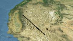 Nevada state (USA) extruded. Satellite map. Stock Footage