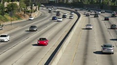 Overhead View of Traffic on Busy Freeway in Los Angeles California Stock Footage