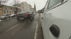 Snow on the street Stock Footage