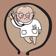 baby doctor in womb - stock illustration