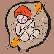 baby kayaker in womb - stock illustration