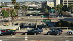Traffic on Busy Downtown Streets - Los Angeles, California Stock Footage