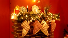 Xmas fireplace Decorated By Lights Presents Gifts Toys Stock Footage