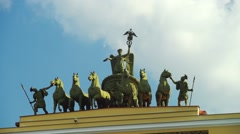 Chariot of Fame monument at General Staff Buildint in St.Petersburg Stock Footage