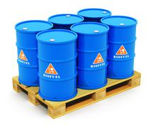 Barrels with biofuel on shipping pallet Stock Illustration