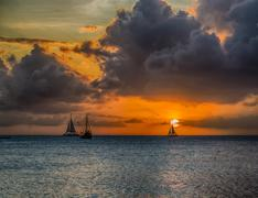 Aruba-Sunset Stock Photos