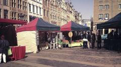 Timelapse of market in Brussels, Belgium. Stock Footage