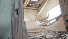 Destroyed interior old abandoned house in desert ghost town Kolmanskop, Namibia Stock Footage
