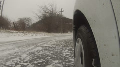 Car on the slippery road - stock footage