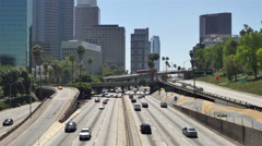Stock Video Footage of Overhead View of Traffic on Busy Freeway in Downtown Los Angeles California
