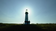 View of Yaquina Head Lighthouse in Newport Stock Footage