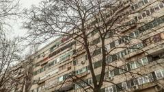 eastern european communist architecture buildings establishments establishing - stock footage