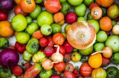 Close up of abundance of variety of produce Stock Photos