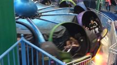 Spinning Amusement Park Ride Stock Footage