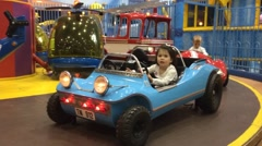 Childs Amusement Park Car Ride Stock Footage
