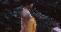 Tahiti Flood 1968 60s Historical 16mm Woman Walking Stock Footage