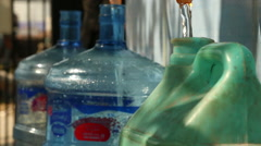 Water being filled in bottles Stock Footage
