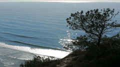 Scenic view from cliff over ocean - stock footage