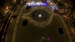 4K Above the Ice park in the center of Zagreb Stock Footage