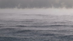 Steaming lake Ontario at Burlington in cold winter morning. Stock Footage