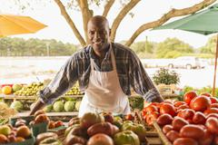 African American vendor smiling at farmers market Stock Photos