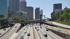 Stock Video Footage of Time Lapse  - View of Traffic on Busy 10 Freeway in Downtown Los Angeles