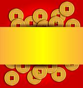 Stock Illustration of gold coins abstract background for chinese new year