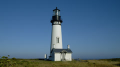 Yaquina Head Lighthouse in morning, Newport Stock Footage